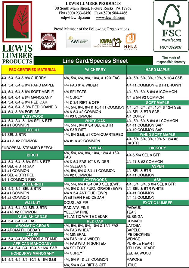 Lewis Lumber Line Card