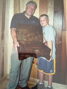 Bible Box eventually given to President Bush, but displayed here by Keith and son Christian.